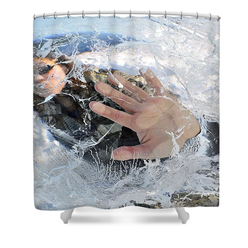 Ice Shower Curtain featuring the photograph Through The Ice by Cathy Mahnke