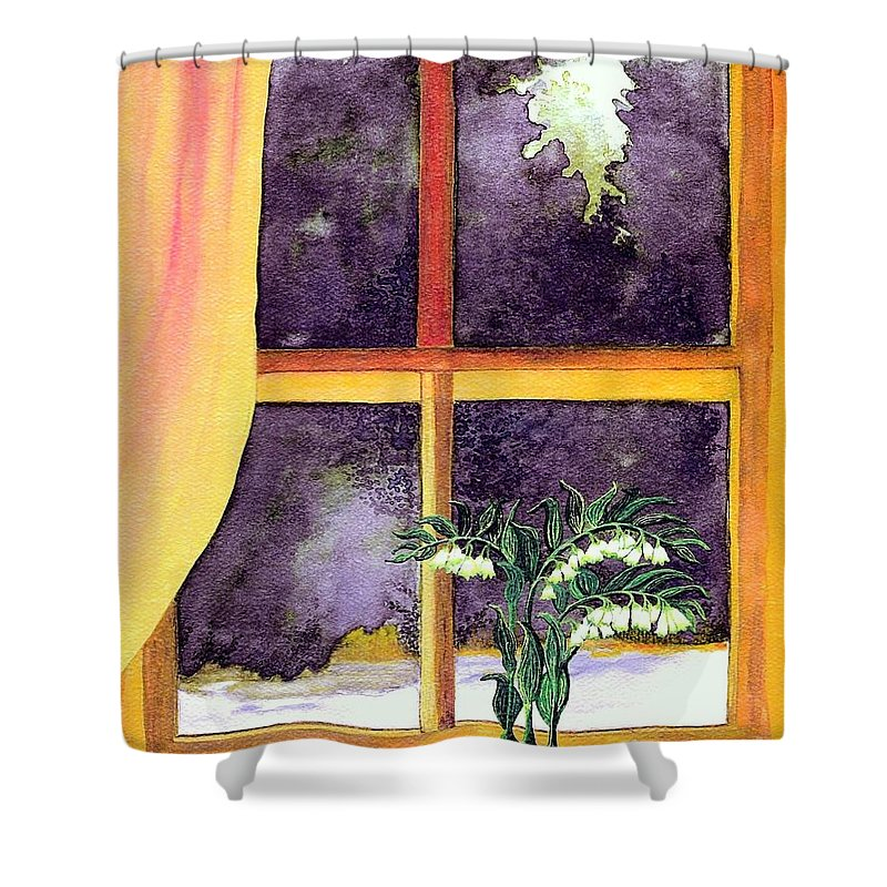 Fine Art Shower Curtain featuring the painting Through The Window by Patricia Griffin Brett