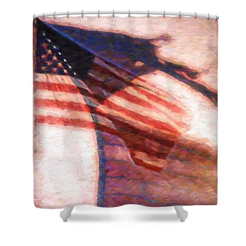 Flag Shower Curtain featuring the painting Through War And Peace by Bob Orsillo