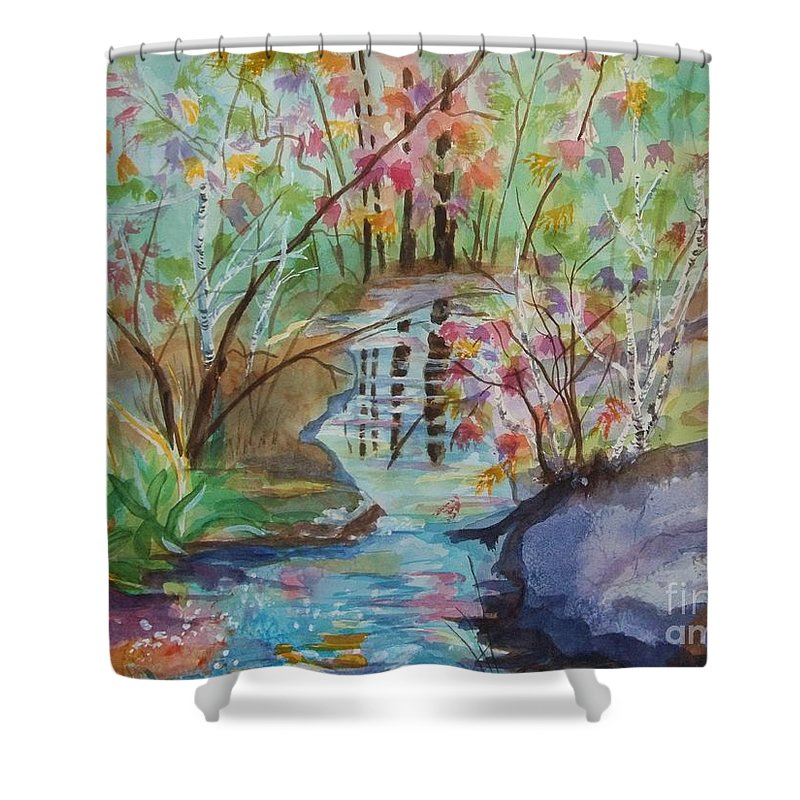 Thunder Mountain Shower Curtain featuring the painting Thunder Mountain Mystery by Ellen Levinson