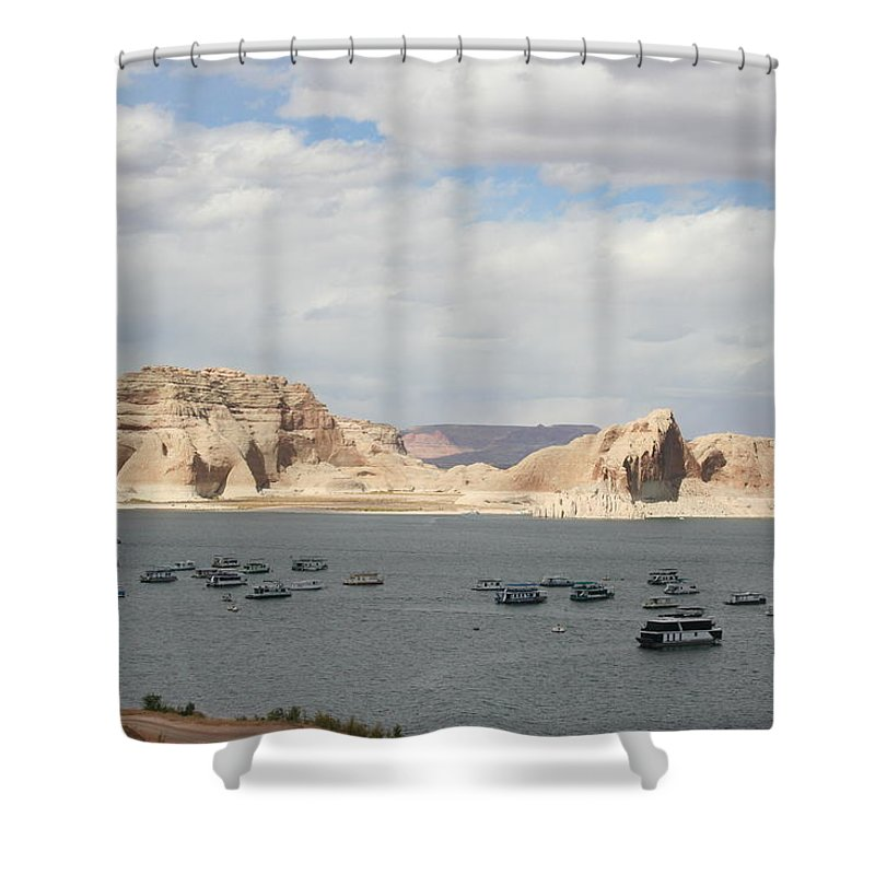 Lake Shower Curtain featuring the photograph Thunderstorm Atmosphere Over Lake Powell by Christiane Schulze Art And Photography