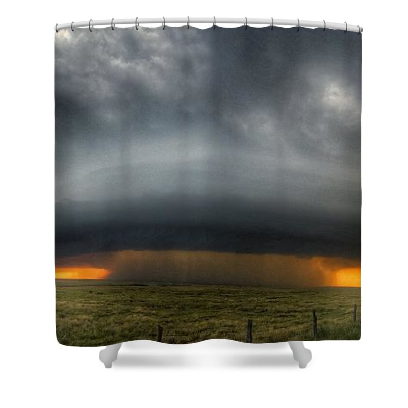 Problems Shower Curtain featuring the photograph Thunderstorm Over Grassy Field by Brian Harrison / Eyeem