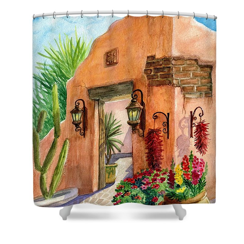 Tia Rosa's Shower Curtain featuring the painting Tia Rosa Time by Marilyn Smith