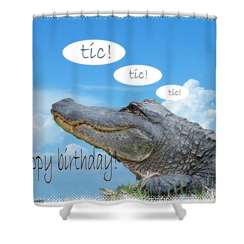 Birthday Card Shower Curtain featuring the digital art Tic Tic Tic by Lizi Beard-Ward