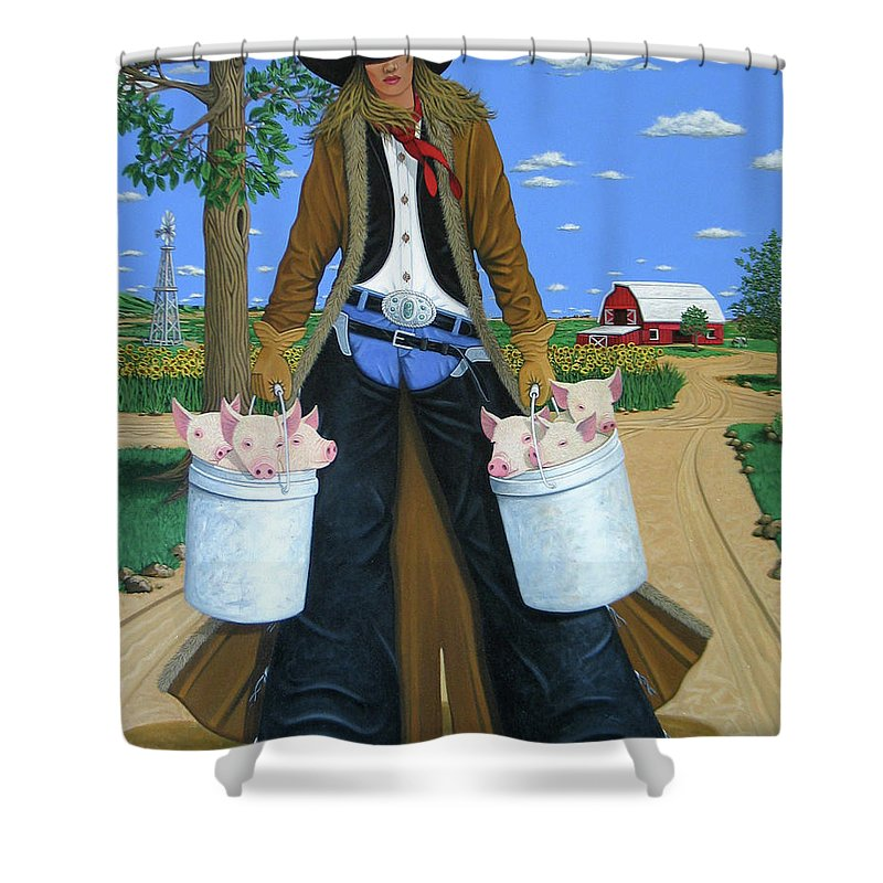 Little Piglets Shower Curtain featuring the painting Tickled Pink by Lance Headlee