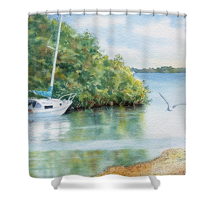 Boat Shower Curtain featuring the painting Tide's Out by Roger Rockefeller