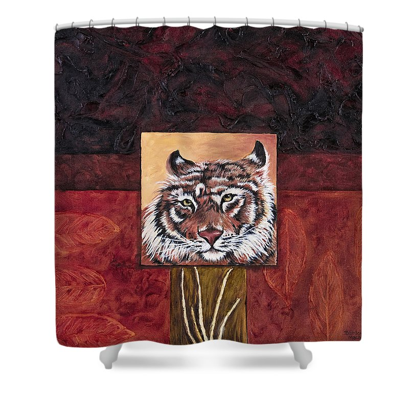 Animal Shower Curtain featuring the painting Tiger 2 by Darice Machel McGuire