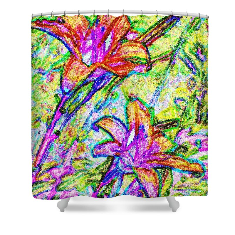 Tiger Shower Curtain featuring the photograph Tiger Lillies by Ian MacDonald