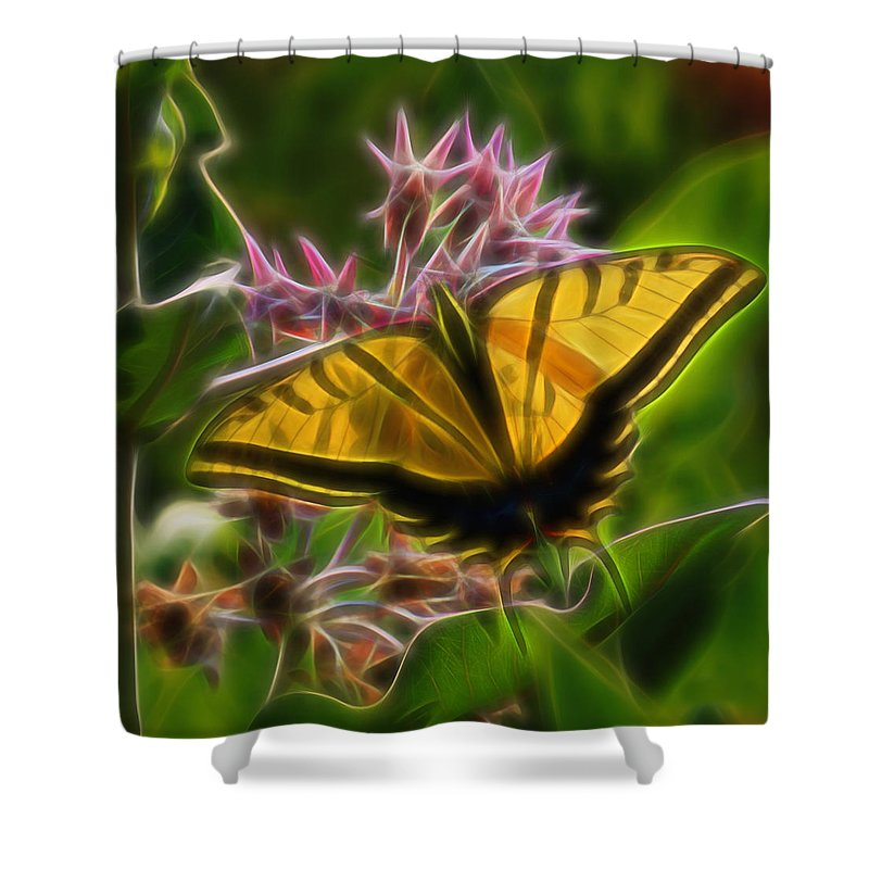 Tiger Swallowtail Butterfly Shower Curtain featuring the digital art Tiger Swallowtail Digital Art by Ernie Echols