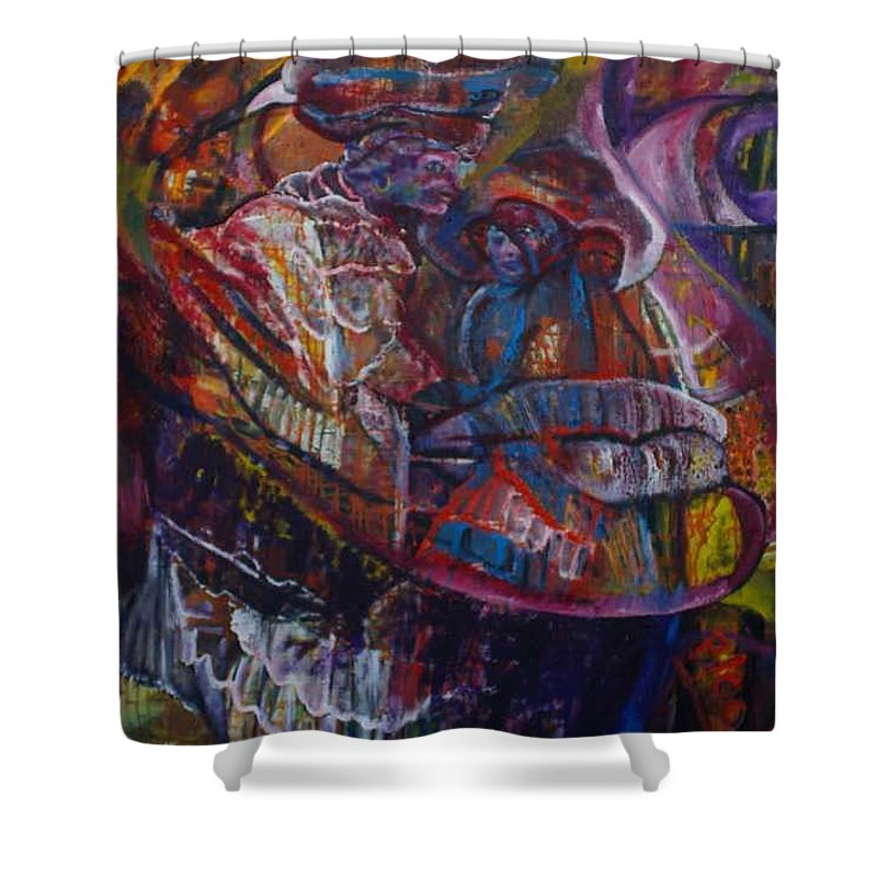 African Women Shower Curtain featuring the painting Tikor Woman by Peggy Blood