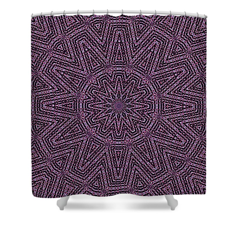 Kaleidoscopic Fractal Abstract Shower Curtain featuring the digital art Tile Mosaic-142 by Doug Morgan