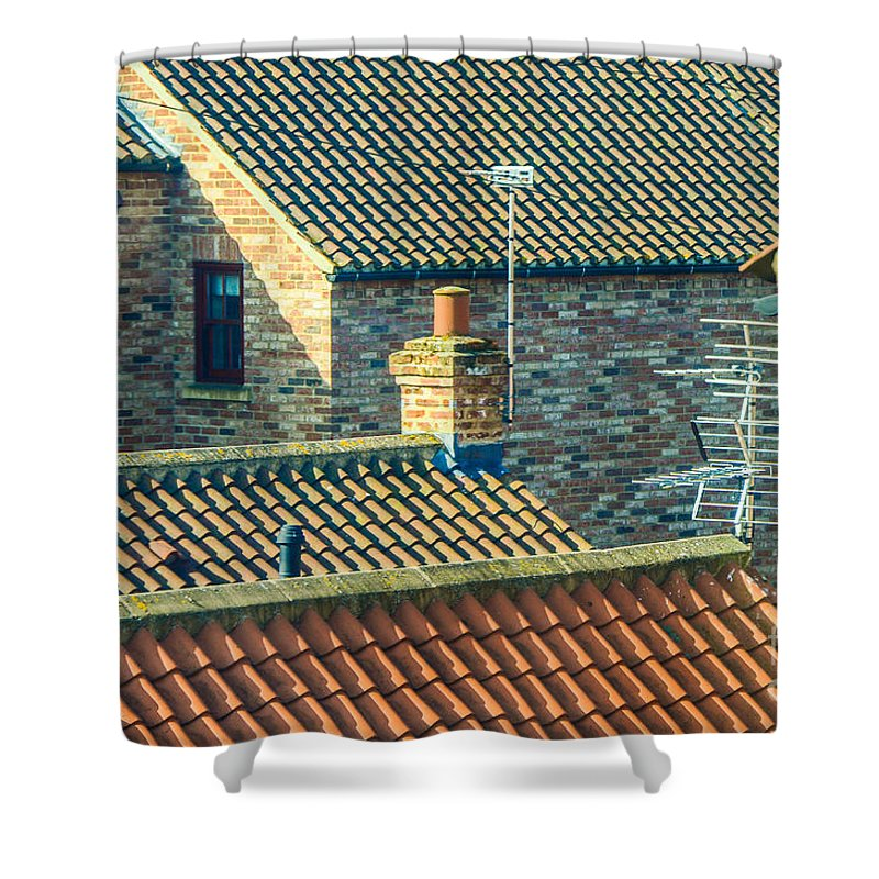 Aerial Shower Curtain featuring the photograph Tile Roofs - Thirsk England by Mary Carol Story