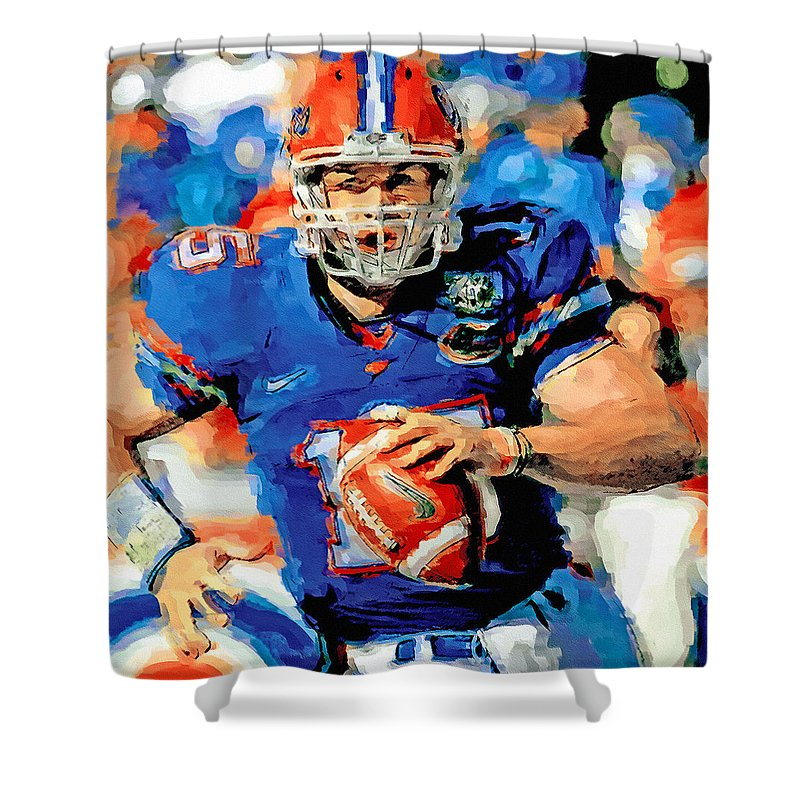 Tim Tebow Shower Curtain Featuring The Painting Mr Florida Gator By John Farr