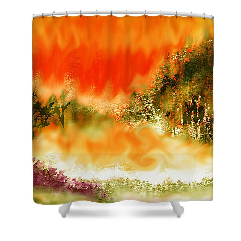 Timber Blaze Shower Curtain featuring the mixed media Timber Blaze by Seth Weaver