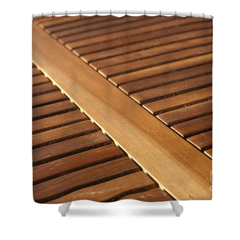 Abstract Shower Curtain featuring the photograph Timber Slats by Tim Hester