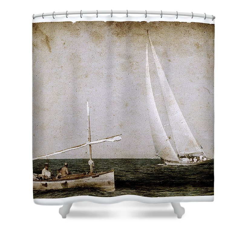 Photo Shower Curtain Featuring The Photograph Time At Sea As Old Times