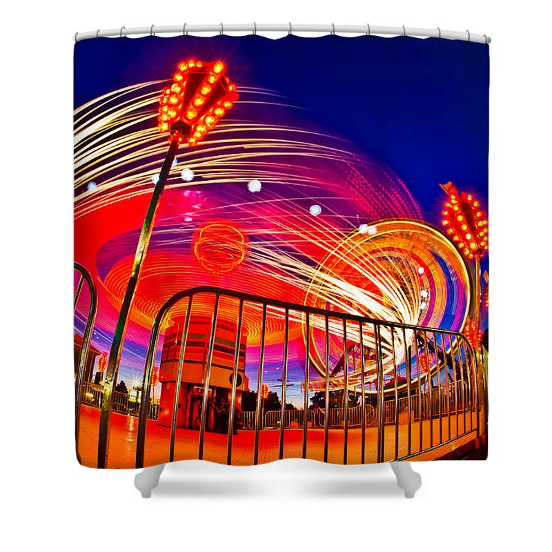 Photography Shower Curtain featuring the photograph Time Exposure Of A Carnival Ride by Panoramic Images