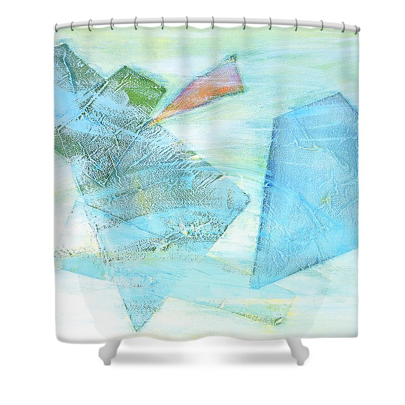 Abstract Painting Shower Curtain featuring the painting Time Flying By by Asha Carolyn Young