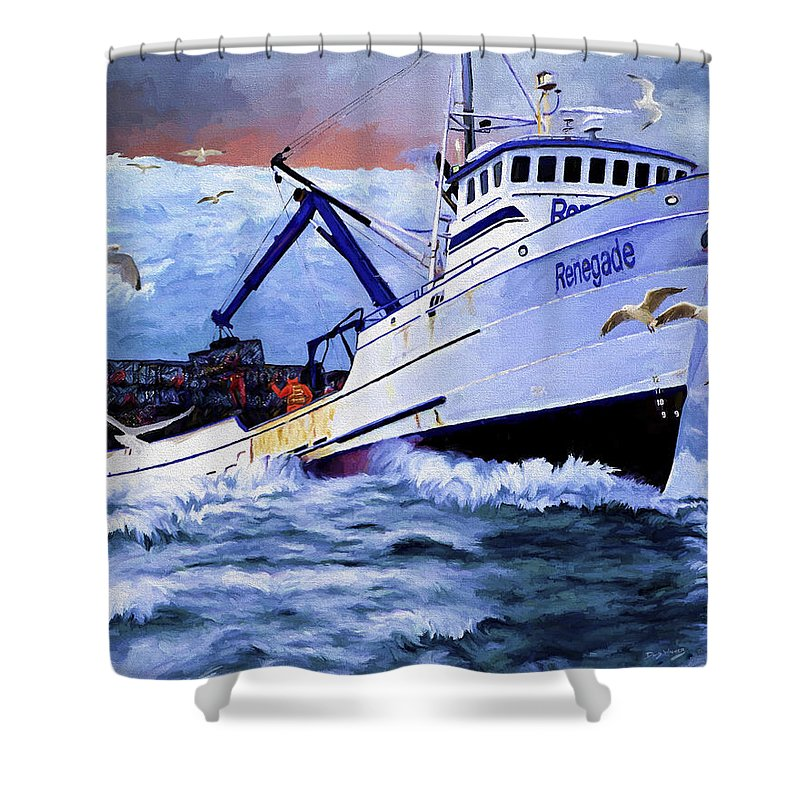 Alaskan King Crabber Shower Curtain featuring the painting Time To Go Home by David Wagner