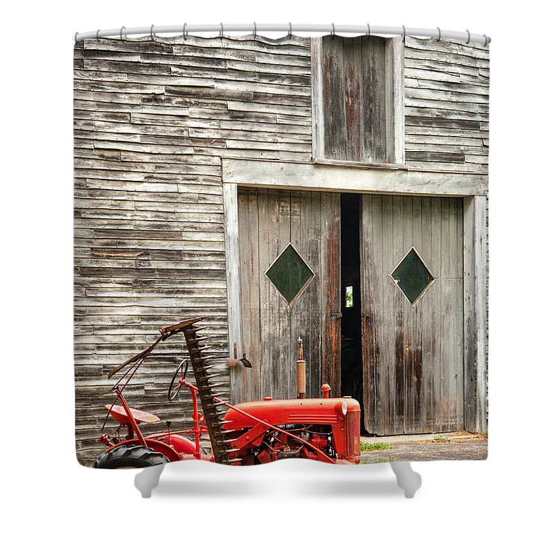 Old Barn Shower Curtain featuring the photograph Red Tractor And Old Barn Ossipee New Hampshire by Dawna Moore Photography