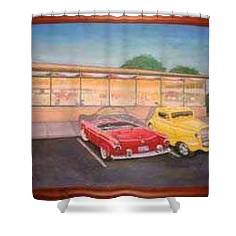 Rick Huotari Shower Curtain featuring the painting Times Past Diner by Rick Huotari