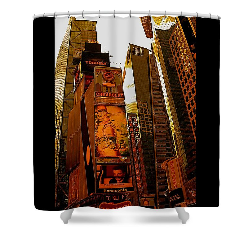 Manhattan Posters And Prints Shower Curtain featuring the photograph Times Square In Manhattan by Monique's Fine Art