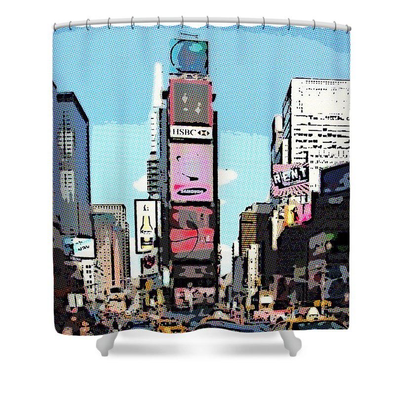 Cartoon Shower Curtain Cityscape Square Blue Print for Bathroom