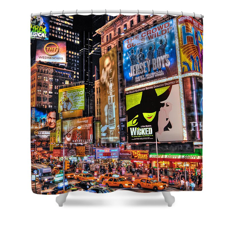 Manhattan Shower Curtain featuring the photograph Times Square by Randy Aveille