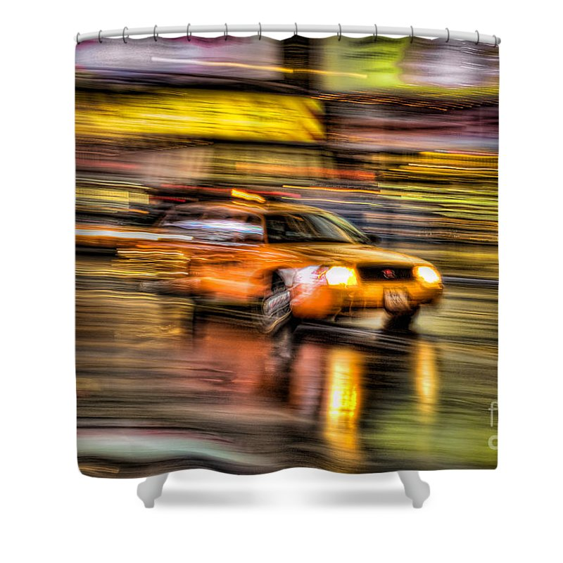 Clarence Holmes Shower Curtain featuring the photograph Times Square Taxi I by Clarence Holmes