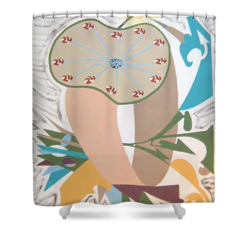 Abstract Shower Curtain featuring the painting Times up by Dean Stephens