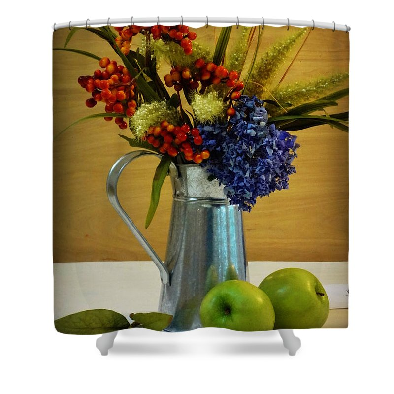 Bouquet Shower Curtain featuring the photograph Tin Bouquet And Green Apples by Deborah Crew-Johnson