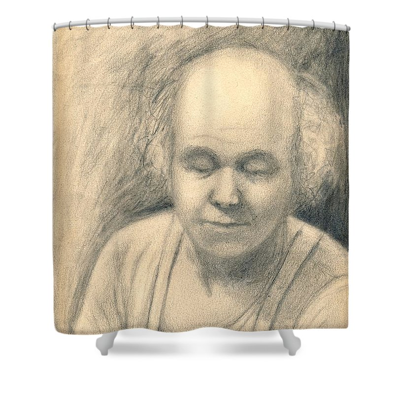 Man Shower Curtain featuring the drawing Tired by Kendall Kessler
