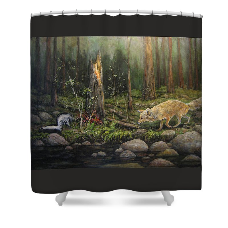 Nature Shower Curtain featuring the painting To Eat Or Not To Eat by Donna Tucker