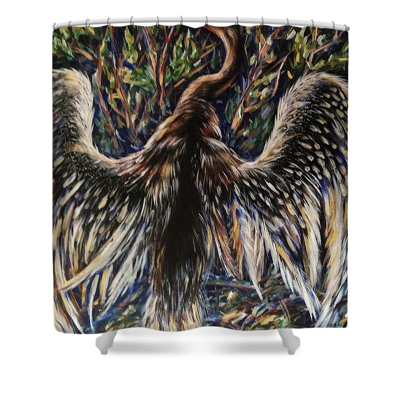 Bird Shower Curtain featuring the painting To Fly by Karen Ferrand Carroll