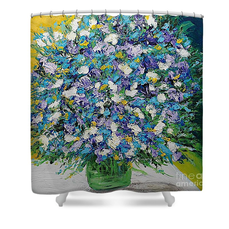 Landscape Shower Curtain featuring the painting To Have And Delight by Allan P Friedlander