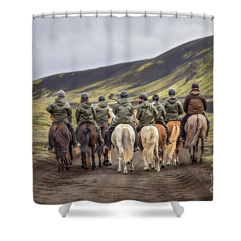 Landmannalaugar Shower Curtain featuring the photograph To Ride The Paths Of Legions Unknown by Evelina Kremsdorf