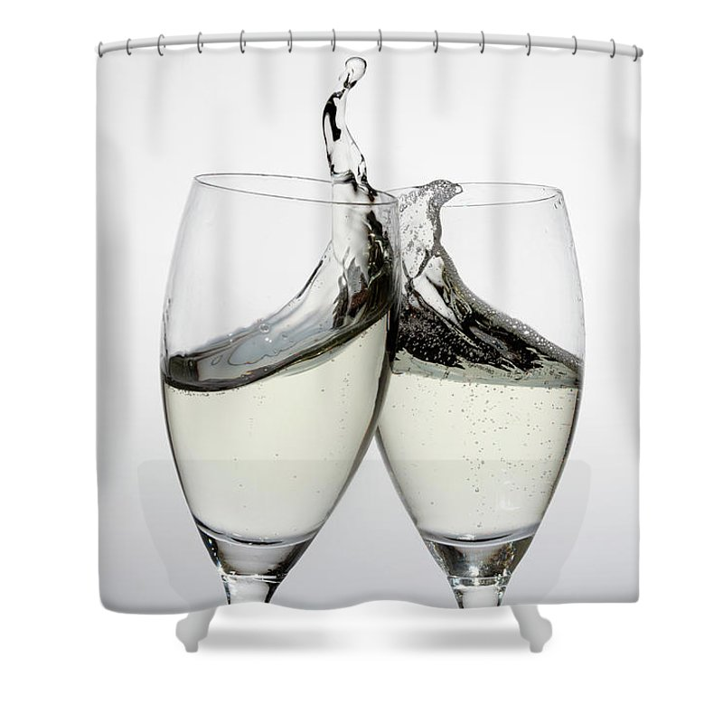 Alcohol Shower Curtain featuring the photograph Toasting With Two Glasses Of Champagne by Dual Dual