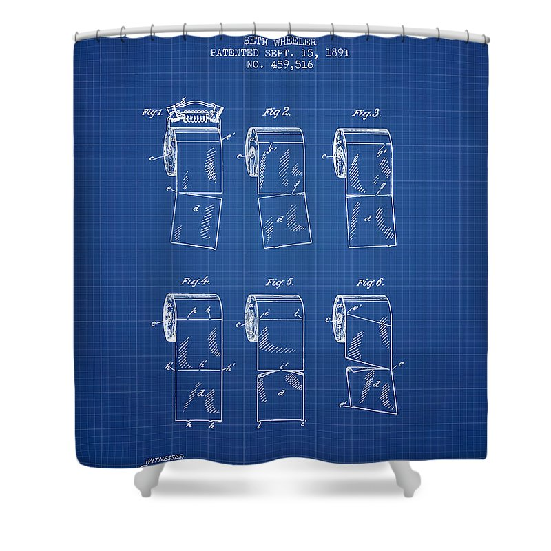 Toilet paper roll patent from 1891 blueprint shower curtain for toilet paper shower curtain featuring the digital art toilet paper roll patent from 1891 blueprint malvernweather