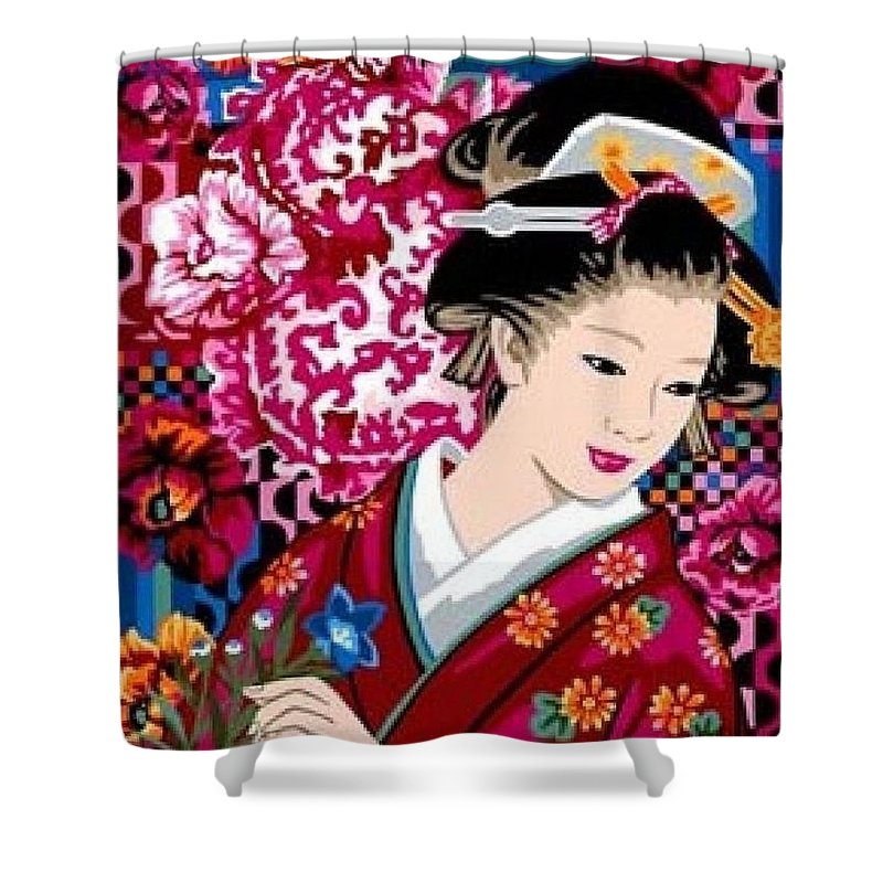 Tokyo Shower Curtain Featuring The Mixed Media