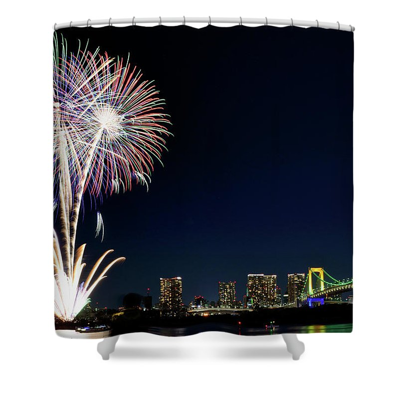 Firework Display Shower Curtain featuring the photograph Tokyo Fireworks by Vladimir Zakharov