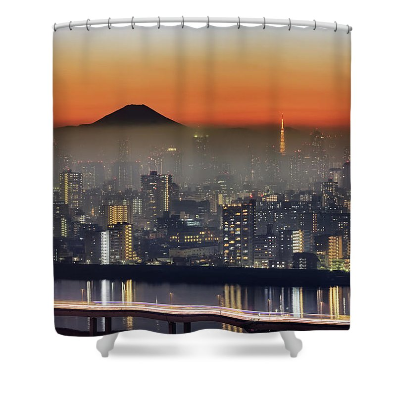 Tokyo Tower Shower Curtain featuring the photograph Tokyo Mt Fuji Fog by Krzysztof Baranowski