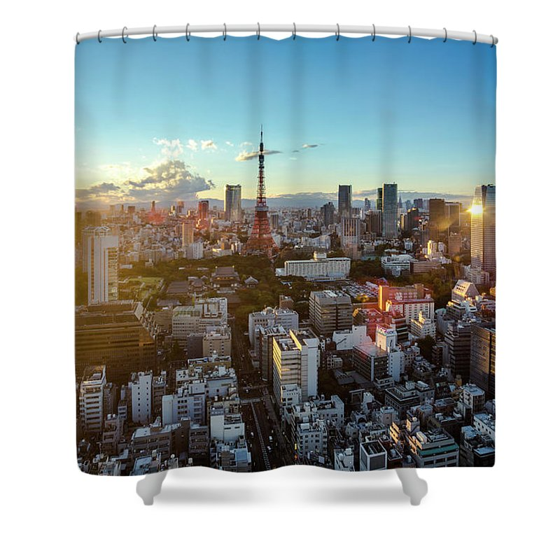 Tokyo Tower Shower Curtain featuring the photograph Tokyo Tower After Raining by Panithan Fakseemuang