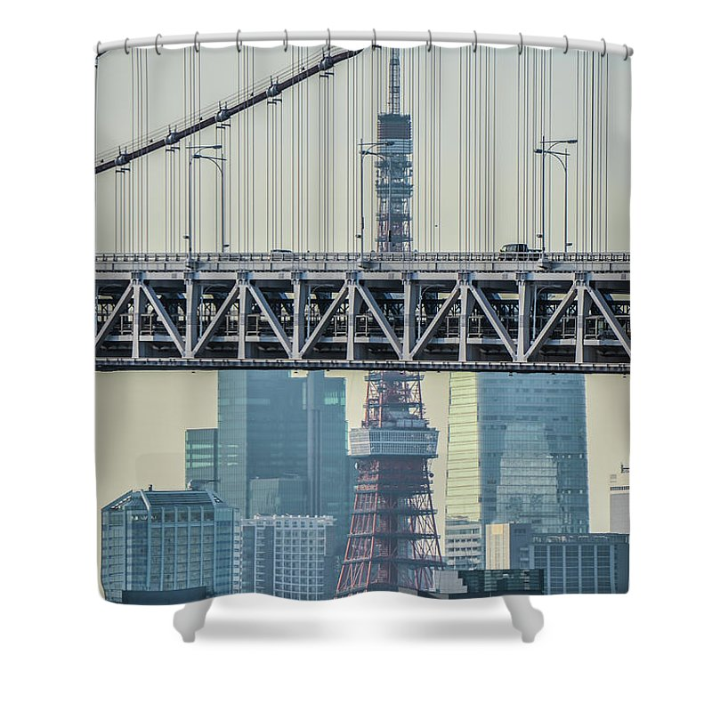 Tokyo Tower Shower Curtain featuring the photograph Tokyo Tower And Rainbow Bridge by Image Courtesy Trevor Dobson