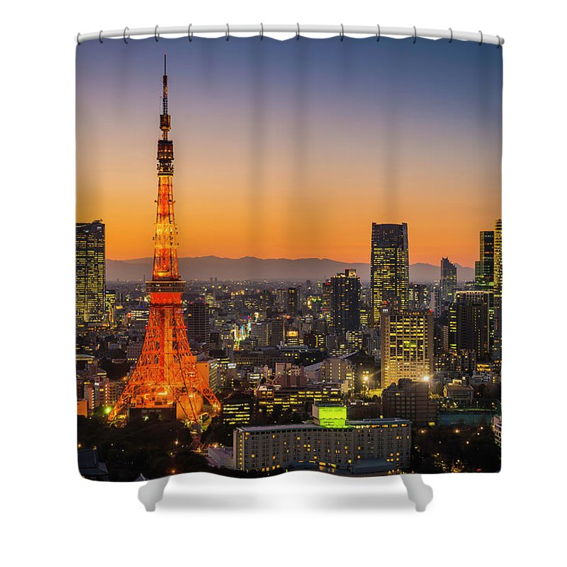 Tokyo Tower Shower Curtain featuring the photograph Tokyo Tower Skyscrapers Neon Futuristic by Fotovoyager