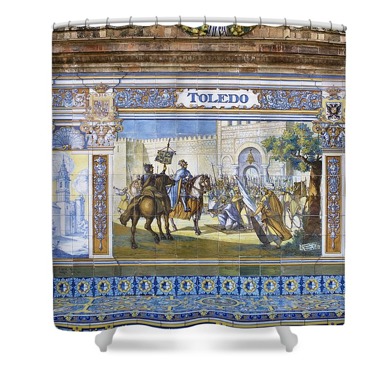 Seville Shower Curtain featuring the photograph Toledo In The Province Alcove Of The Plaza De Espana by Lorraine Devon Wilke
