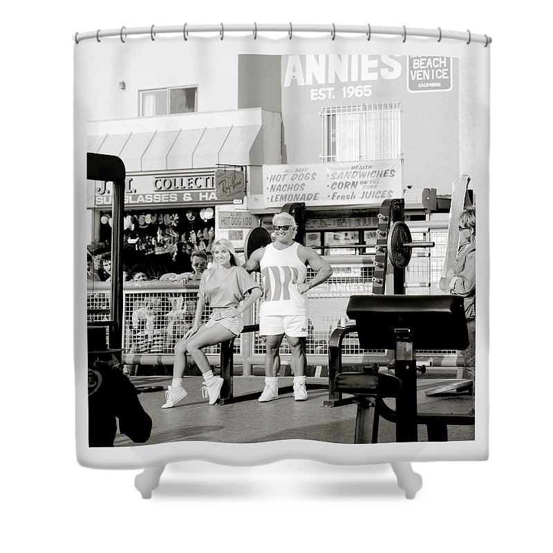 Masculinity Shower Curtain featuring the photograph Tom Platz At Venice Beach by Shaun Higson