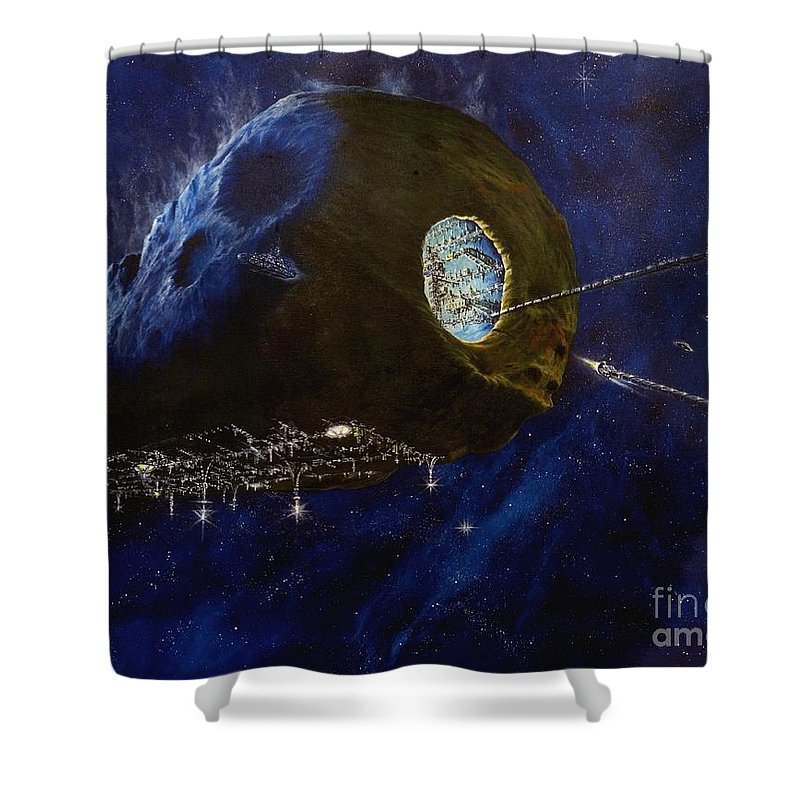 Oil Shower Curtain featuring the painting Tomorrow by Murphy Elliott