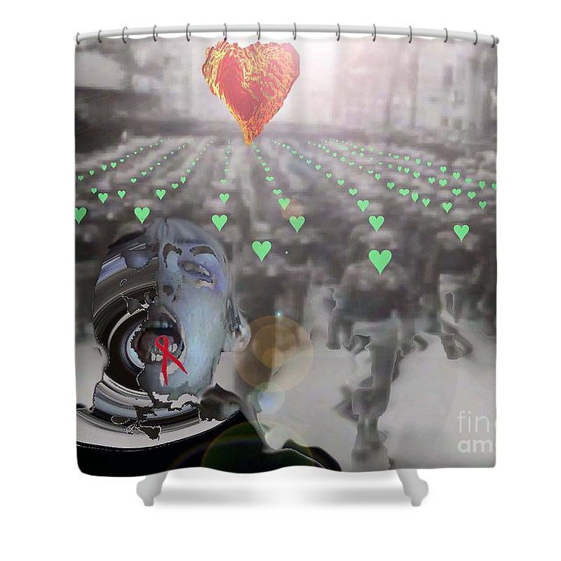 2012 Shower Curtain featuring the digital art Tongue-tied Samsara by Feile Case