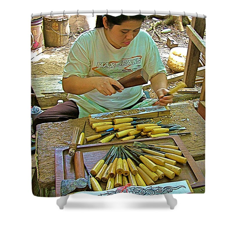 Tools For Teak Wood Carving Shop In Kanchanaburi Thailand Shower Curtain