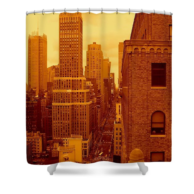 Manhattan Posters And Prints Shower Curtain featuring the photograph Top Of Manhattan by Monique's Fine Art
